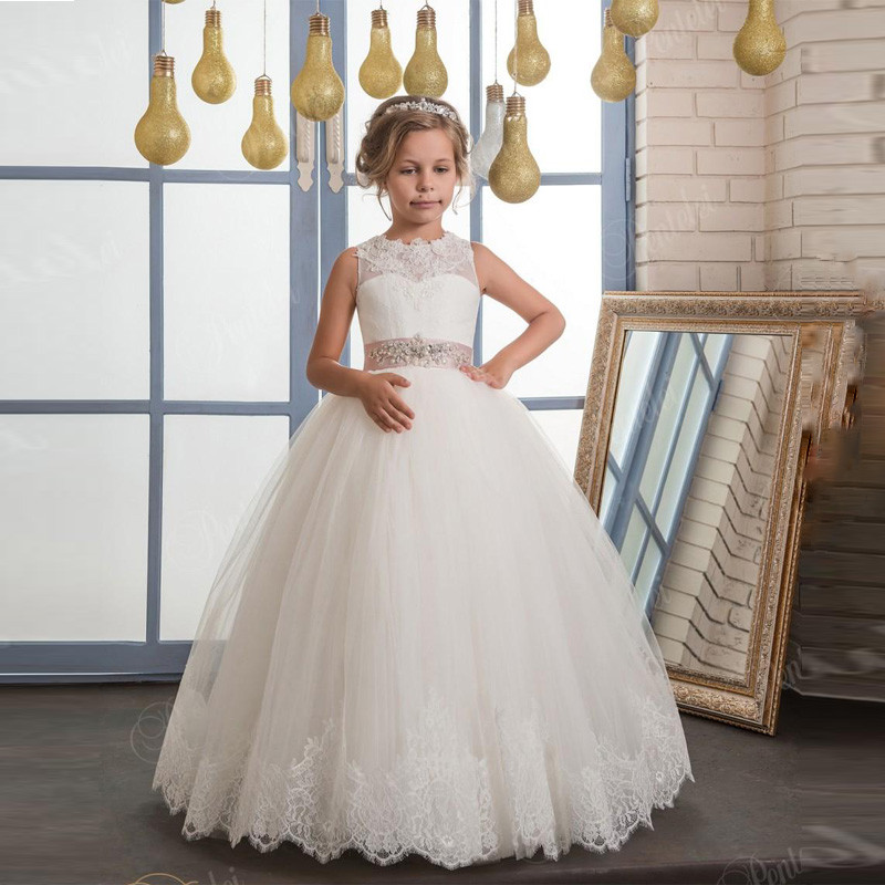 First Communion Dresses for Girls Ball Gown Bow Sleeveless Lace Up O-Neck Ankle Length Glitz Pageant Dresses for Little Girls 12 sweet little girls white first communion dress lace sash crew neck ankle length flower girl dress pageant gown custom
