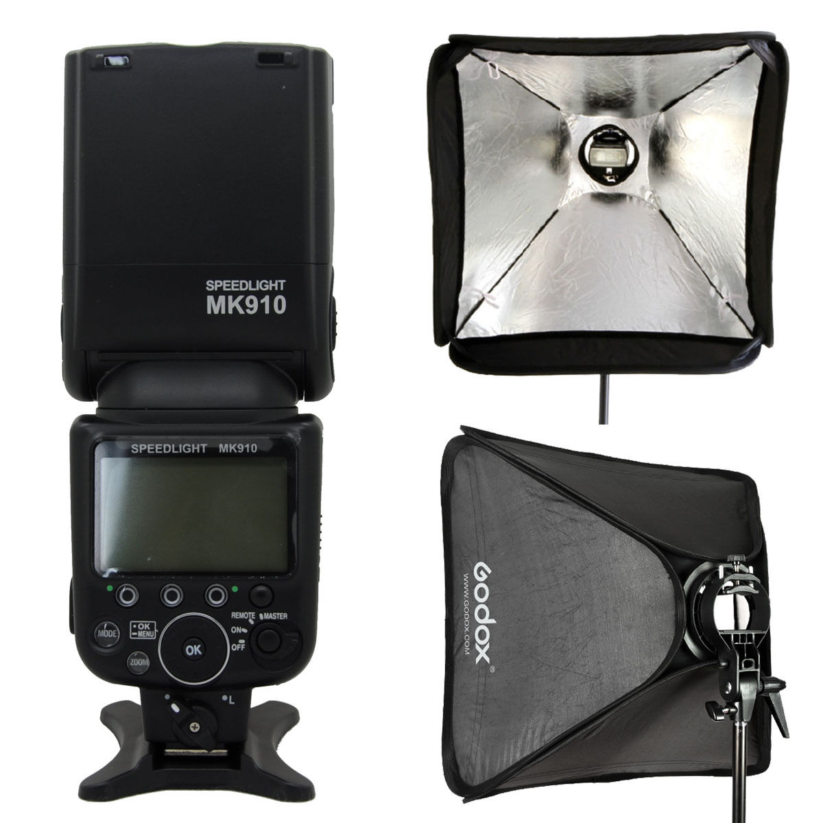 Meike 910 TTL Master HSS GN60 Flash Flash pour Nikon + Godox s-type support de montage de support Flash + 60x60 cm Softbox
