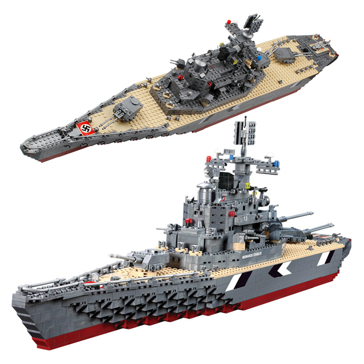 Model building kits compatible with lego city Bismarck Cruiser Battleship 931 3D blocks Educational toys hobbies for children ba904 academy wwii german artwox battleship bismarck wood deck aw10047