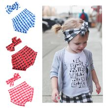 Childrens hair accessories band plaid rabbit ears headscarf + PP pants set baby headwear gift for selection