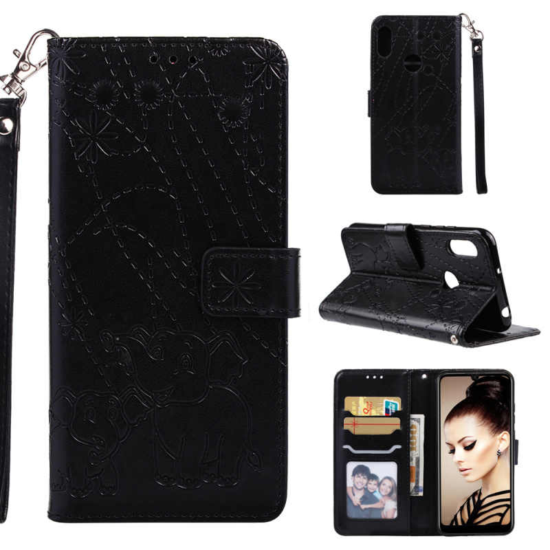 1pcs Card Slots Stand Fireworks Elephant Strap Book Style Leather Case For Huawei Y6 2019