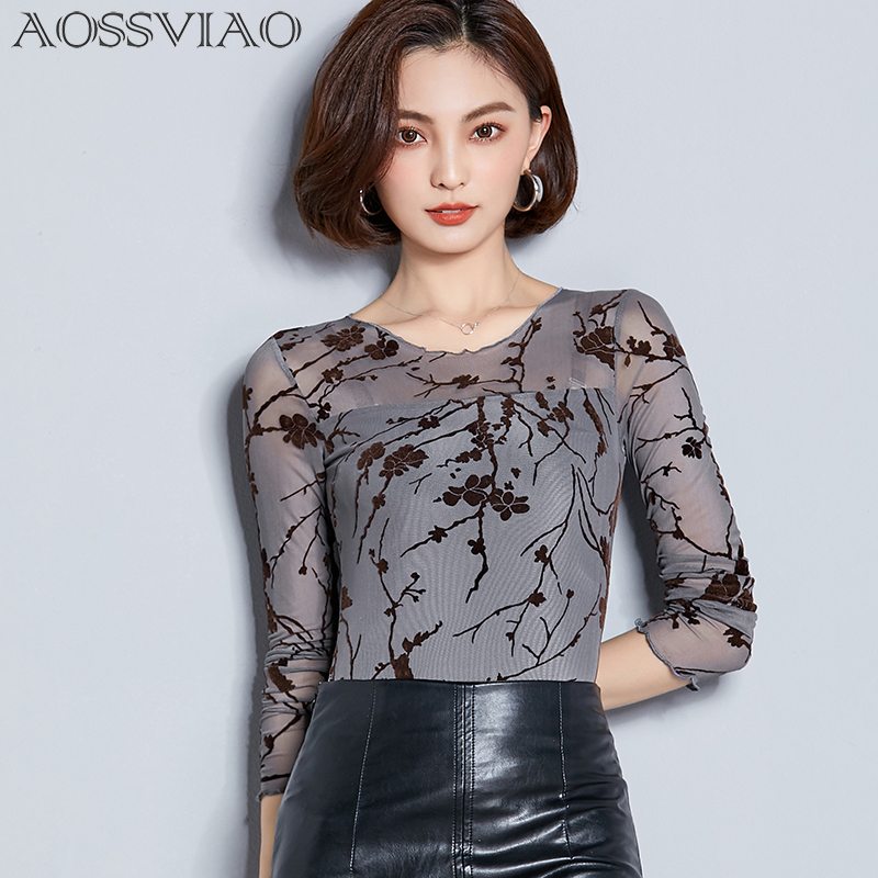Women   Blouse     Shirt   Flocking Print Sexy Long   Shirt   Casual Long Sleeve Lace   Blouse   Under   Shirts   Hollow Tops For Woman Plus Size