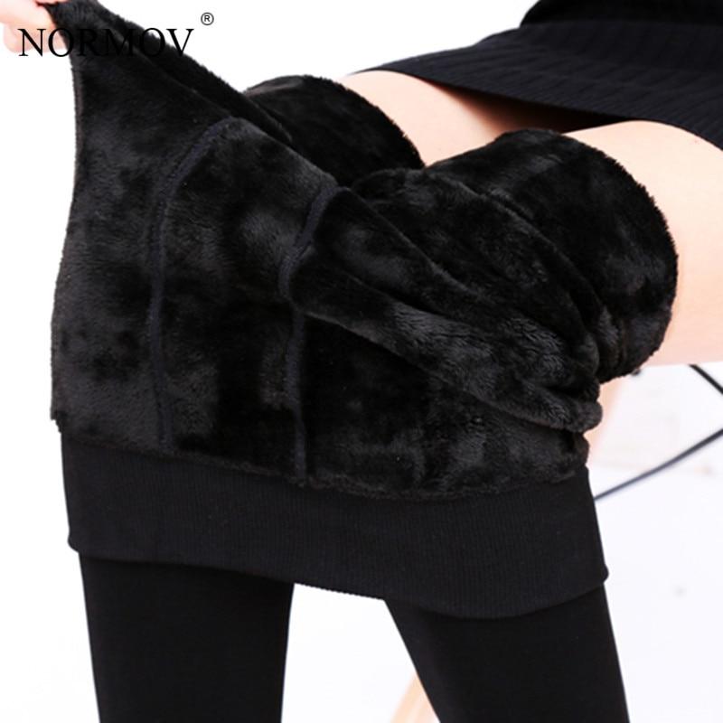 NORMOV S-3XL Plus tamaño de invierno caliente las mujeres Leggings de terciopelo cálido pantalones Leggins de cintura alta Legging grueso pantalones de invierno Pantalones de las mujeres