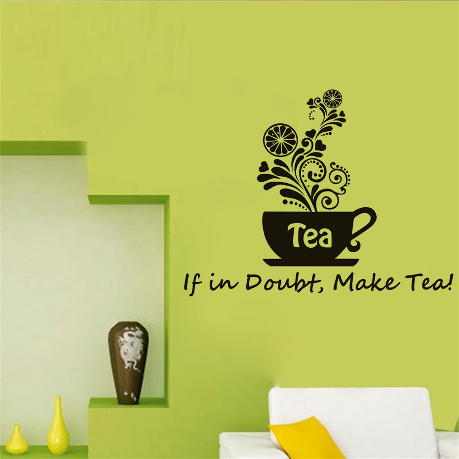 Kitchen Wall Sticker Make Tea Floral Coffee Cup, If In Doubt Quotes ...