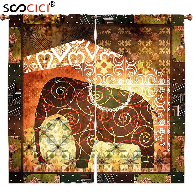 Window Curtains Treatments 2 Panels,Farmhouse Decor Animal Image Made with Elephant and Swirling Spirals in Hazy Blurry Color