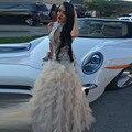 Vestido de Penas de luxo 2017 O-pescoço Beading Sereia vestido de Noite Custom Made Formal Vestido do Baile de finalistas com Strass vestido longo