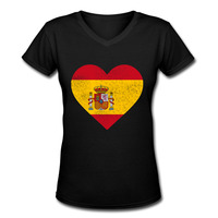Spain Flag Heart Spanish Women Tops Tees 2017 Summer New Cotton V Neck Short Sleeve Tshirt