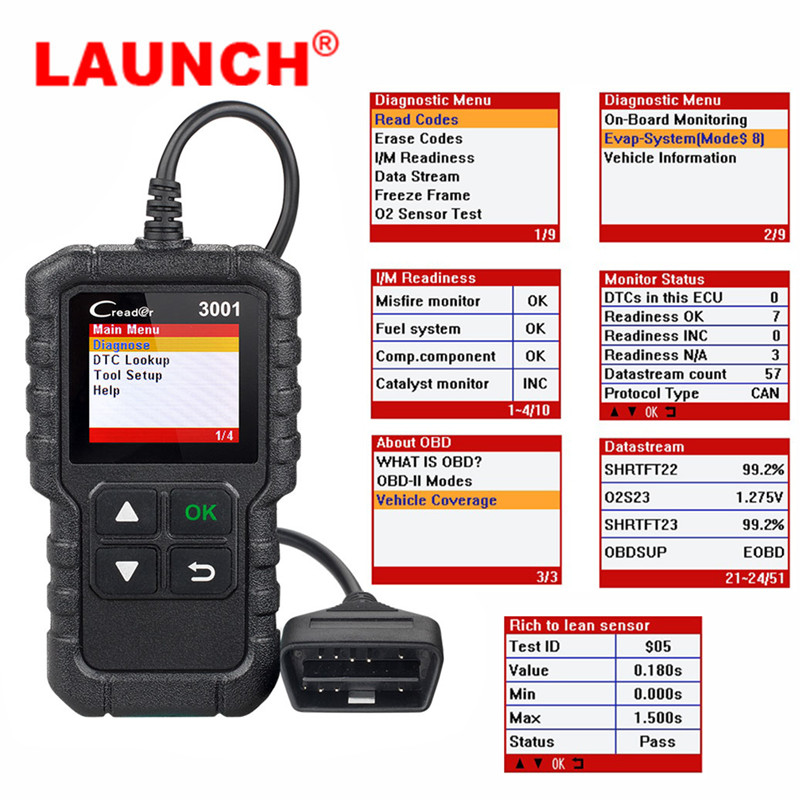 Launch X431 CR3001 OBD2 OBDII Auto Code Reader Scanner Creader 3001 Car Diagnostic Tool Same as Al419 PK ELM327 AD310 Scan tool-in Car Diagnostic Cables & Connectors from Automobiles & Motorcycles