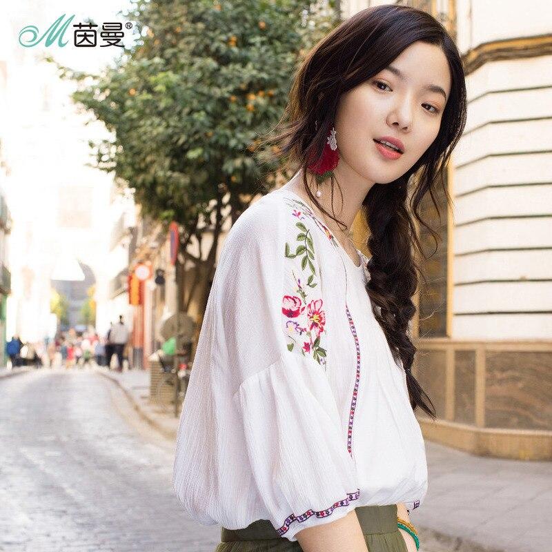 1393f2f9e29 Dark Broderie Programation Nouveauté Coton Vêtement Femme Pur Système D été  Blouse Vintage Ample De Purple ...