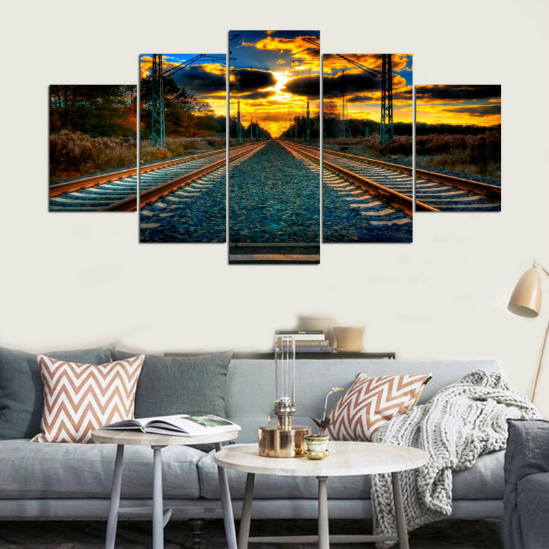 HD Canvas Living Room Home Decor Printed Modern Pictures 5 Panel Sunset Railway Landscape Painting Wall Art Modular Poster Frame