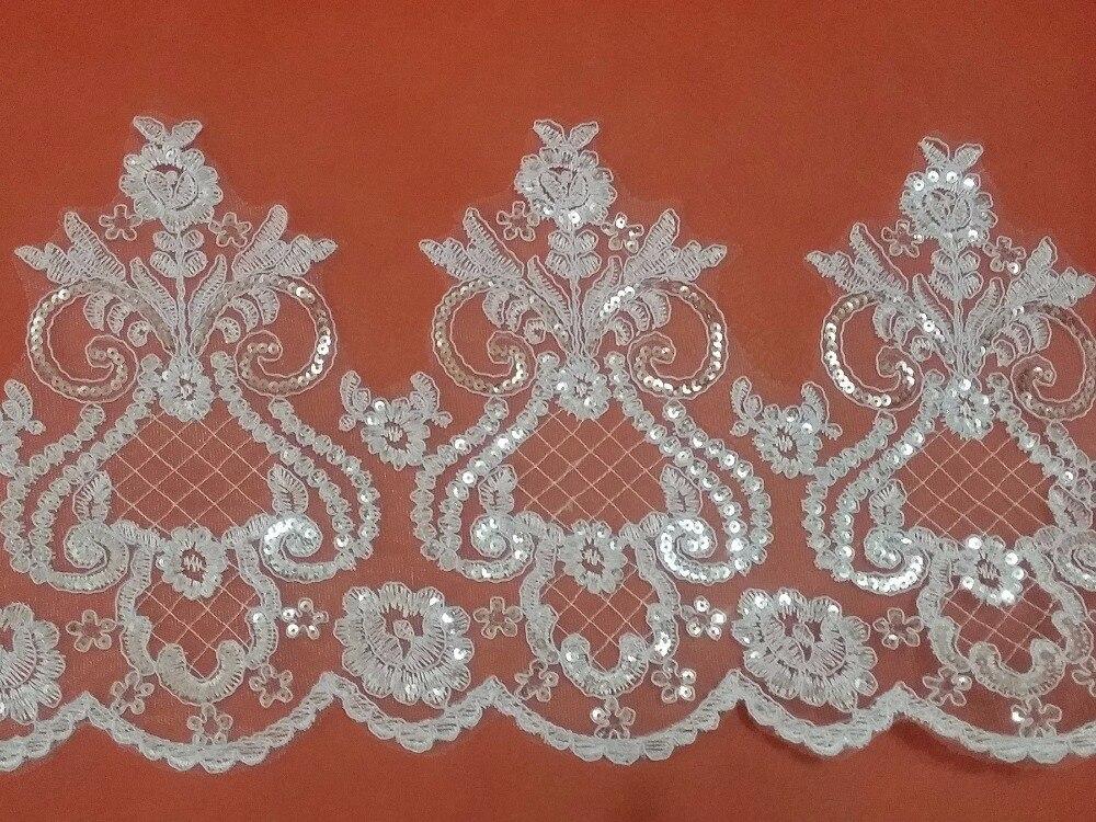 Brodé paillettes maille guipure dentelle cordée style européen dentelle rubans et garnitures pour coudre blanc ivoire en gros 8.8 mètres