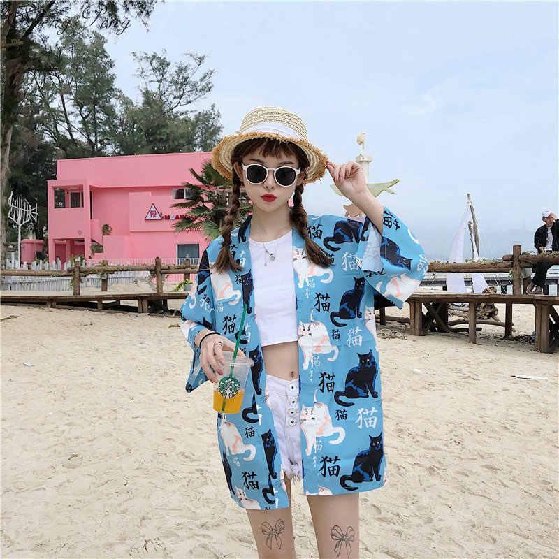 Японский Harajuku Винтаж Женский человек кимоно кардиган косплей каваи футболки с надписью рубашки уличная мода повязки блузка V1405