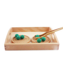 Деревянный Монтессори Детские игрушки Монтессори прямоугольный лоток кубики клип мяч обучения Развивающие игрушки для детей подарок для детей H2144