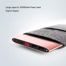 Портативный мобильного телефона Зарядное устройство Мощность Bank 20000 мАч повербанк Dual USB ЖК-дисплей внешний Батарея Мощность Bank 20000 мАч для iphone 6S