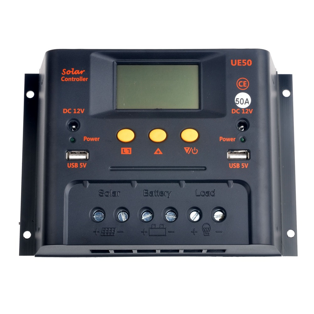 ФОТО 50A 48V Solar Charge Controller PWM Charger Battery Panel Regulator 2400W CE With USB 5V and DC12V Output