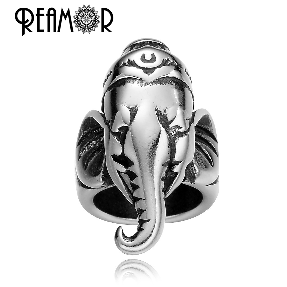 REAMOR Thailand Ganesha Buddhisme 8mm Ukuran Lubang 316l Stainless Steel Big Hole Beads Fit Pria Kulit Gelang DIY Perhiasan