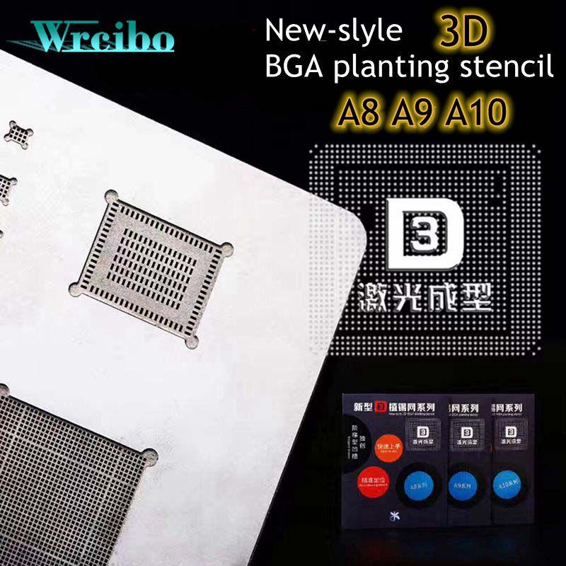 imágenes para Wrcibo A8 A9 A10 3D de Plantación BGA stencil para iPhone 6 6 s 7 Plus CPU WIFI de banda base chip de potencia reparación stencil estaño placa