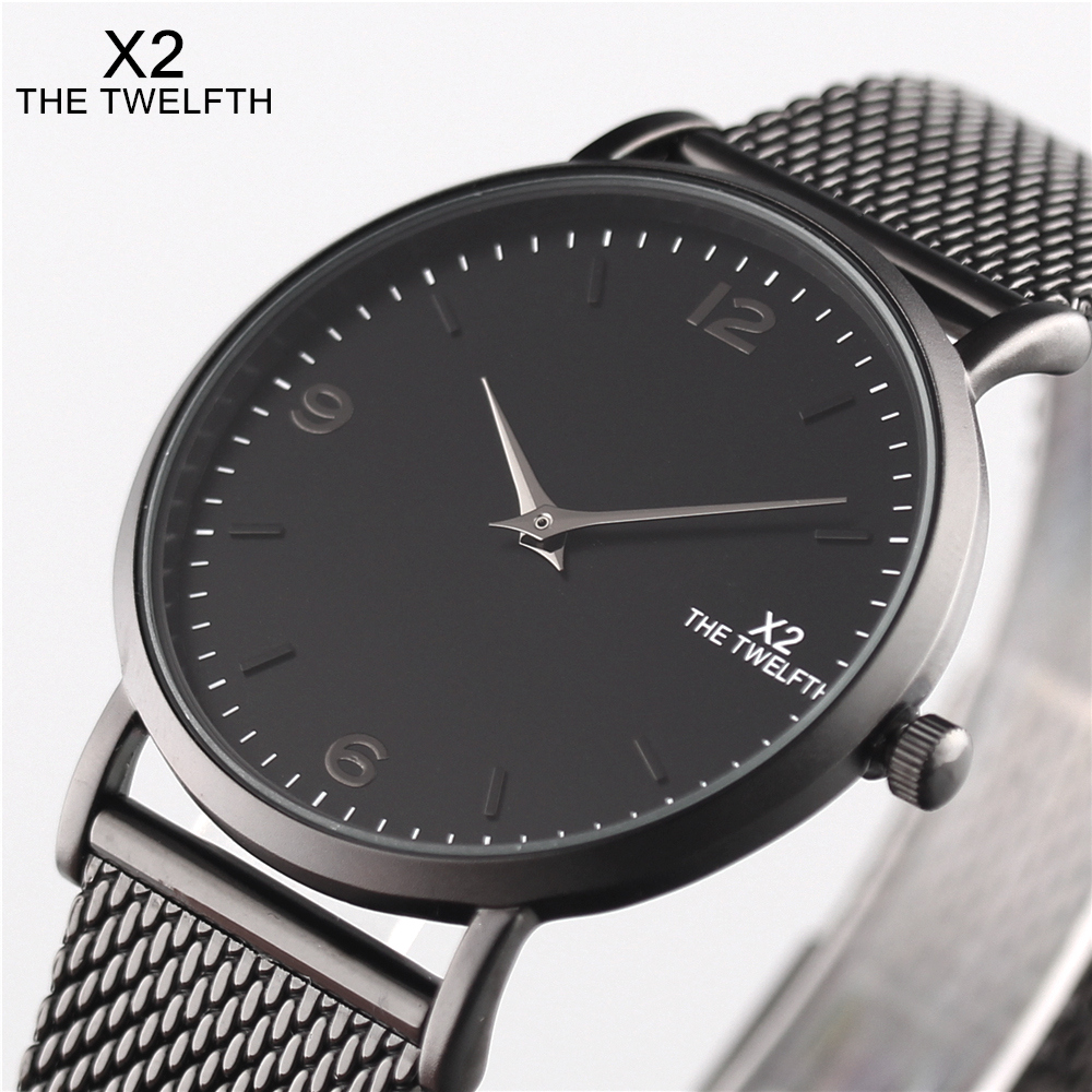 2017 Watches Men And Women Fashion Stainless Steel Amant Montres Quartz-Watch Ultra-Thin 40MM Blue Dial X2 THE TWELFTH Brand 2016 aladdin and the magic lamp watch the young men and women fashion quartz pocket watch table birthday gift ds262