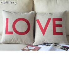 LOVE Pattern Nordic Style Cushion Cover Dog Cotton Linen Spring Pillow Covers Decorative Pillowcase For Sofa Car Coussin Jaune недорого