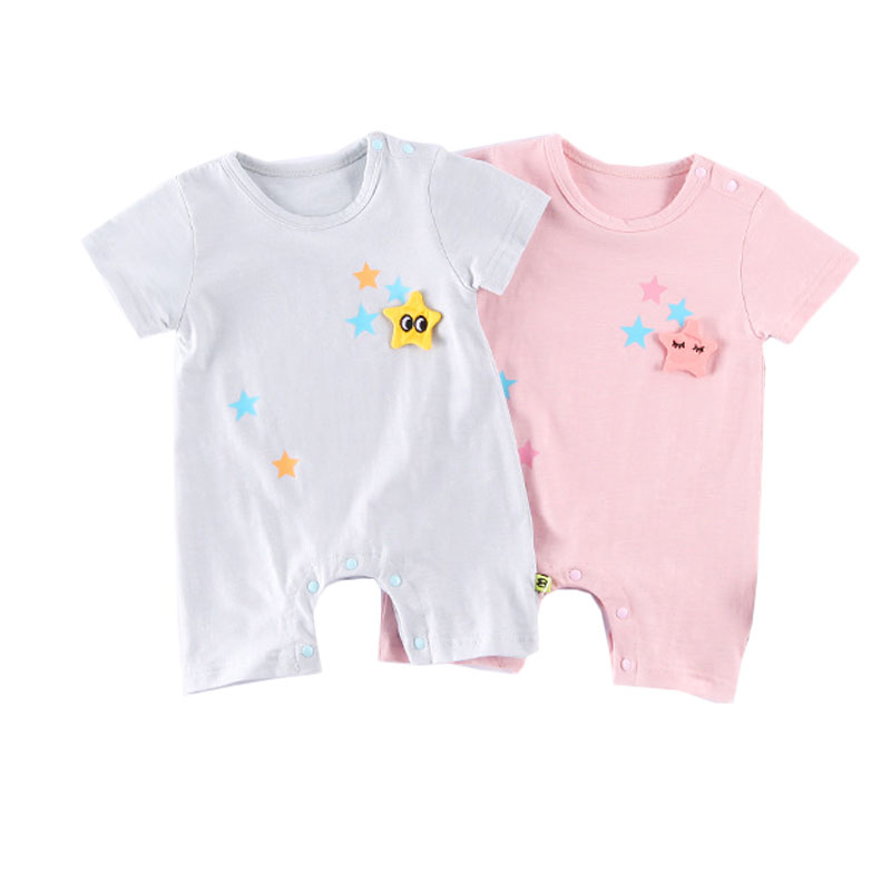 ba g  Newborn Baby Boys Girl Romper Star Print Clothes Cute Bebes Infantil Summer Short Sleeve Outfit Sunsuit Babies Jumpsuit(China)