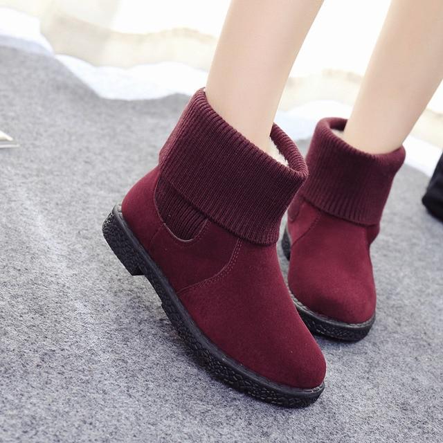 Новый Стиль 2017 Зима Случайный Куница С Бархат женские Короткие Сапоги Хлопка-проложенный Обувь Для Студентов Снега