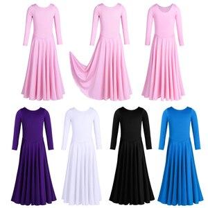 Image 2 - Iiniim Kids Girls Dancewear luźny krój balet współczesne kostiumy do tańca liturgiczne Tutu sukienka gimnastyka trykot baleriny