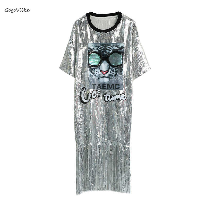 Bling Silver Tassel Dress for Women's Party 2019 Spring Summer Women Plus Size Shirt Dresses Cat Patch Women Clothing LT695S50