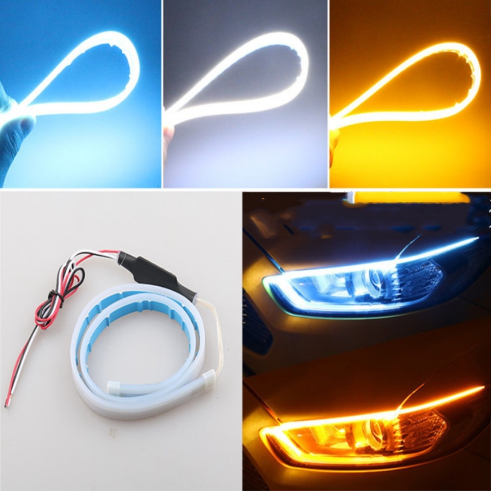 1 Pair 60cm  Flexible Car DRL Running Turn Signal White Amber/Red LED Flowing Bar Silicone Daytime Running Light Headlight Strip