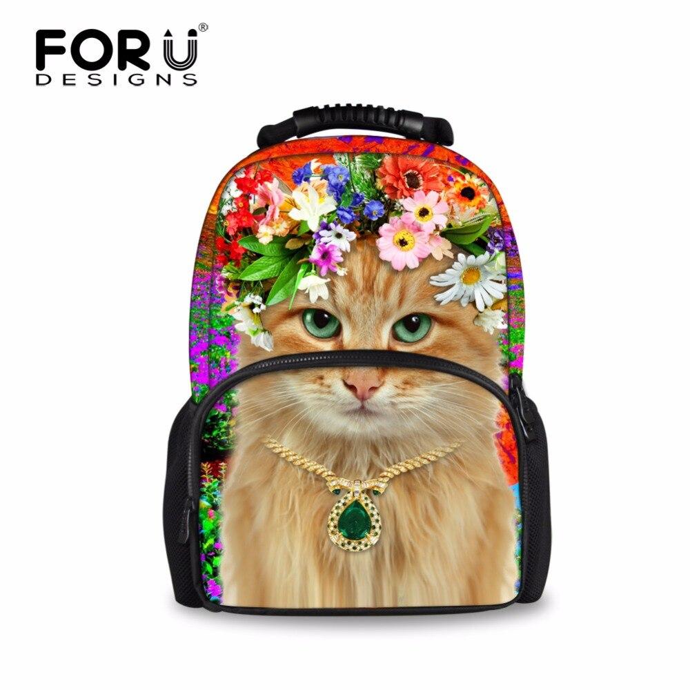 FORUDESIGNS 3D Cat Printinf Women Backpack Feminine Backpacks For Girls Shoulder Daypack for Teenager Students Campus Back Packs