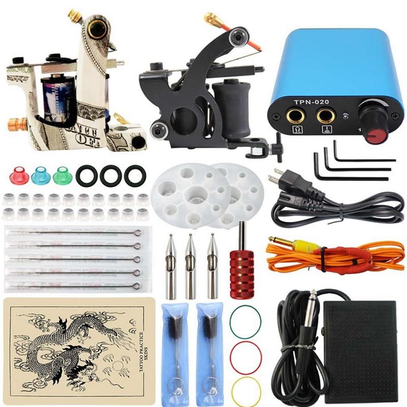 Professional 1 Set Complete Equipment Dual Tattoo Machine 2 Gun Tattoo practice skin blue Power Supply Cord Kit Body Beauty DIY