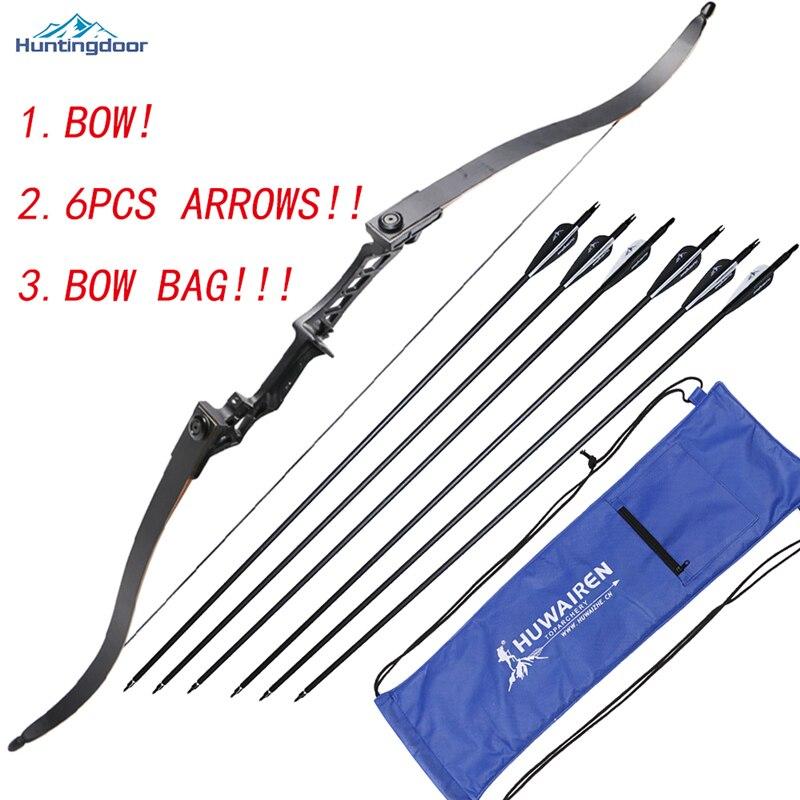 Лидер продаж лук и стрелы набор с бантом Сумка 30-50lbs стрельба из лука 31.5 дюйма Spine500 углерода стрелки со съемными broadeads