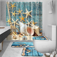 Bathroom Mats Anti Slip Bathroom Mat Set Starfish Beach Conch Shell Style Bathroom Toilet Rugs Absorbing Carpet Accerssories(China)