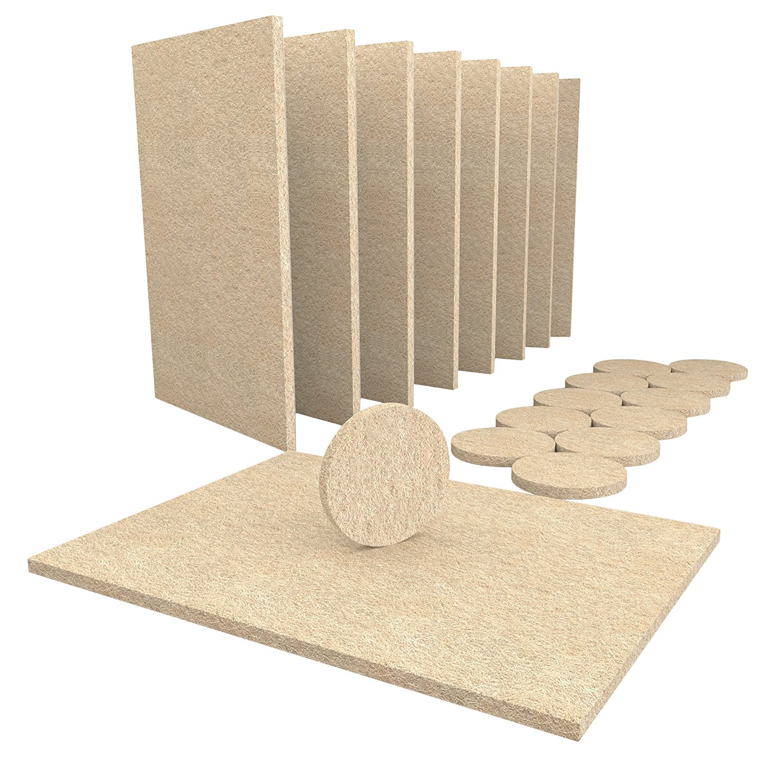 NOCM-8 Large Self Stick Furniture Felt Sheets 12 Round Felt Pads To Protect Hardwood Floors&Furniture