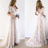 2019 Champagne Country Bohemian Wedding Dresses V neck Short Sleeves Lace Backless Cheap Wedding Bridal Gowns Plus Size