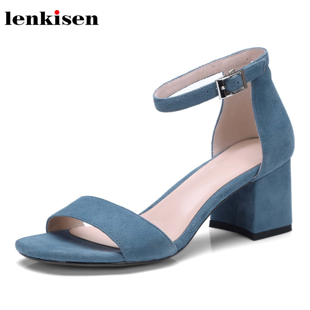 Lenkisen peep toe solid kid suede square heel fashion causal simple cool women shoes buckle strap high heels women sandals L3f8