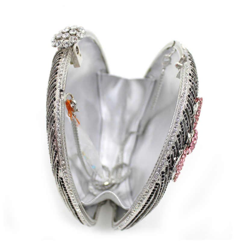 XIYUAN מותג יוקרה נשים אירופאי ואמריקאי סגנון בובת יהלומים מלא בעבודת יד טהור צורת תיקי כתף ערב מצמד ארנקים