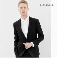 BASIQUE high quality 2015 spring summer men super slim black casual business double slit 70% wool fashion wedding suits jackets