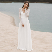 Simple Beach Reception Wedding Dress Long Sleeve Lace Top Chiffon Skirt A Line V neck Backless Boho Bridal Gown Vestido De Noiva simple v neck lace a line wedding dress