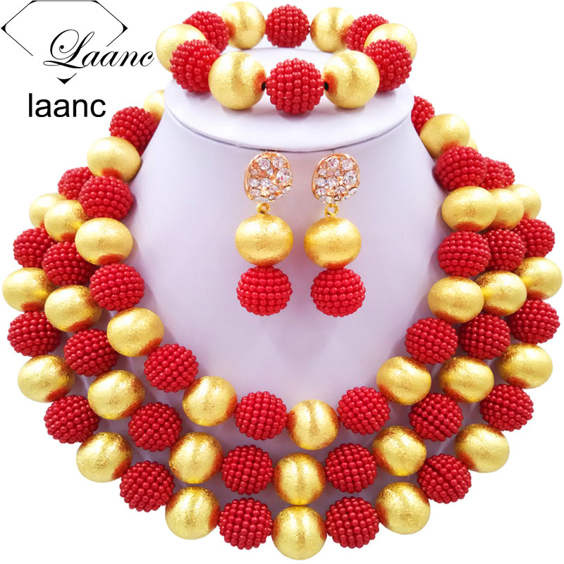 Laanc Simulated Pearl Red Bridal Jewelry Sets African Wedding Beads Nigerian Necklace Earrings for Women NAL462Laanc Simulated Pearl Red Bridal Jewelry Sets African Wedding Beads Nigerian Necklace Earrings for Women NAL462