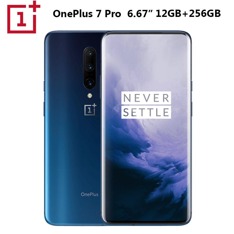 Nouveau téléphone Mobile OnePlus 7 Pro 12GB + 256GB Snapdragon855 Octa core 6.67 3120x1440p 19.5: 9 caméra plein écran 48MP + 16MP NFC 4000mAh