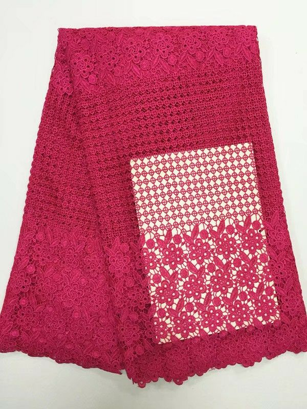 5 Yards/PC Wonderful fuchsia embroidery african water soluble lace and flower Gippy lace fabric for clother BW129-45 Yards/PC Wonderful fuchsia embroidery african water soluble lace and flower Gippy lace fabric for clother BW129-4