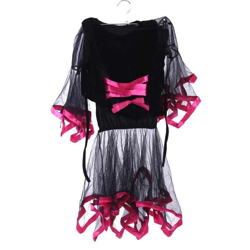 Anak pengiriman gratis gadis Halloween kostum Cosplay penyihir pesulap pakaian anak-anak penyihir seragam permainan