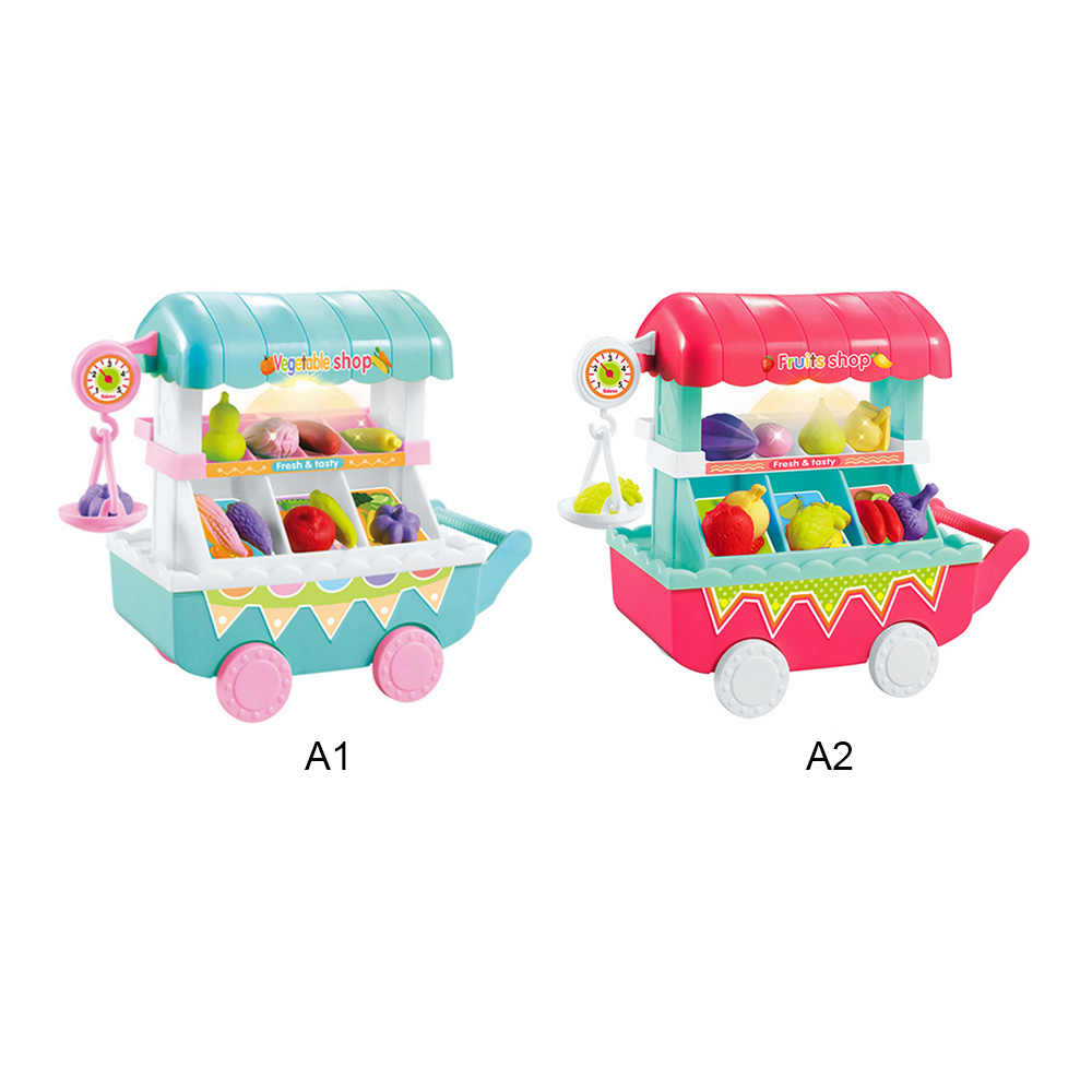 Simulation Small Carts Girl Mini Vegetables Fruits Shop Supermarket Children 's Toys Playing Home Baby Toys