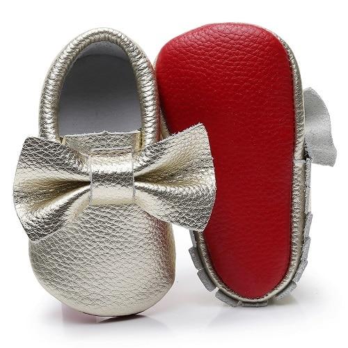 2018 100% Couro Genuíno fundo vermelho sapatos grande arco mocassins de sola macia do bebê para recém-nascidos meninas infantil