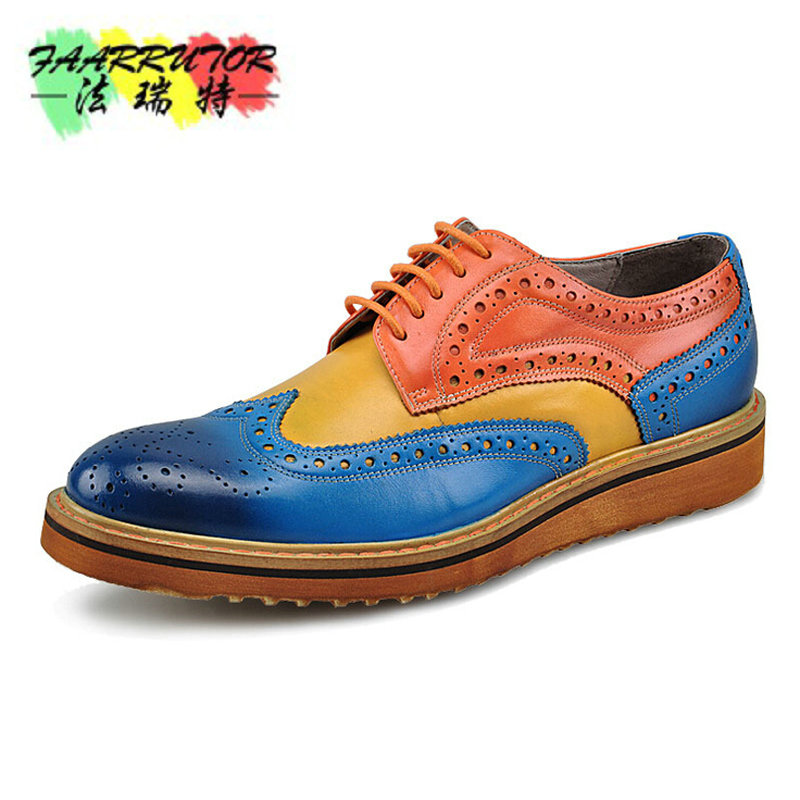 2016 Branded Design Men's Casual Patent Full Grain Leather Oxfords Fulll Brogue Pointed Toe Fashion Mixed Color Oxford Shoe