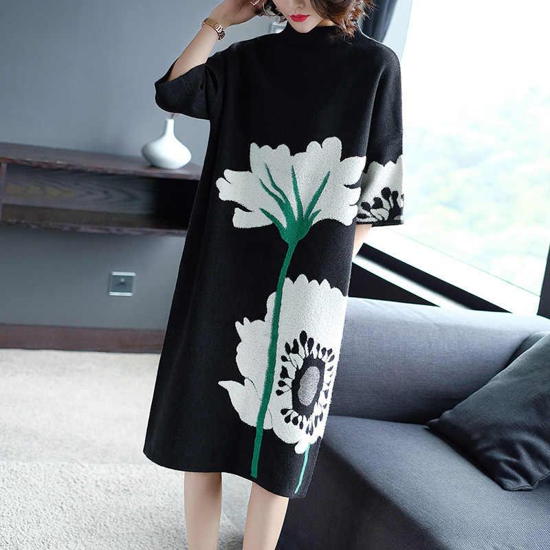 71be87111d5ee European Plus Size Dress 2018 Autumn Winter Fashion Knitted Sweater Dress  Women Big Floral Print Mid-Calf Casual Jumper Dress