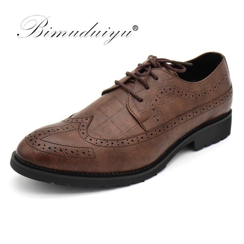 BIMUDUIYU Haute Qualité Hommes Oxfords Chaussures de Style Britannique Formelle Chaussures Hommes Chaussures Habillées Bout Pointu Noir Brun Chaussures Richelieu