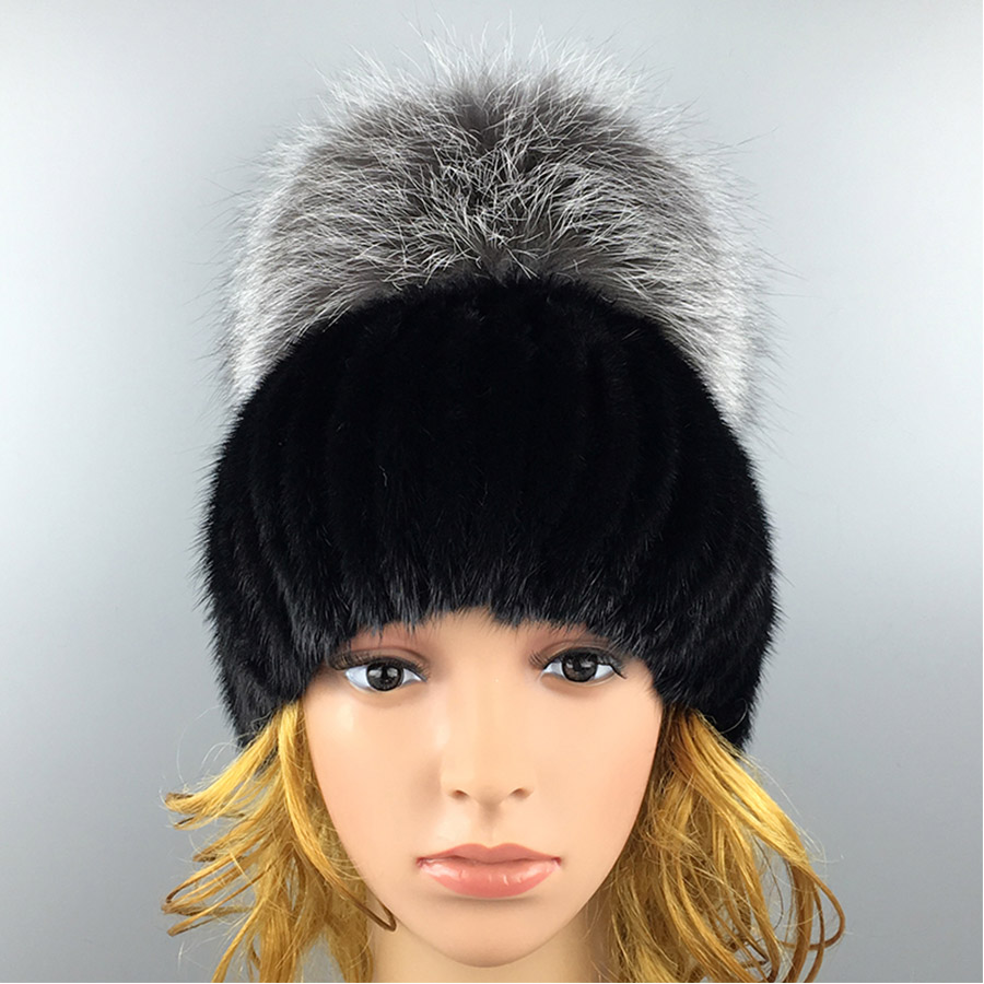 ФОТО 2016 Winter Novelty Beanies Fur Hat High Quality Mink Fluffy Big Fur Ball Solid Mink Fur Hat for Women