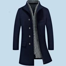 2017 Woolen Winter XXL Plus Size Navy Wine Khaki Erkek Mont Casaco Masculino Overcoat Fashion Coat