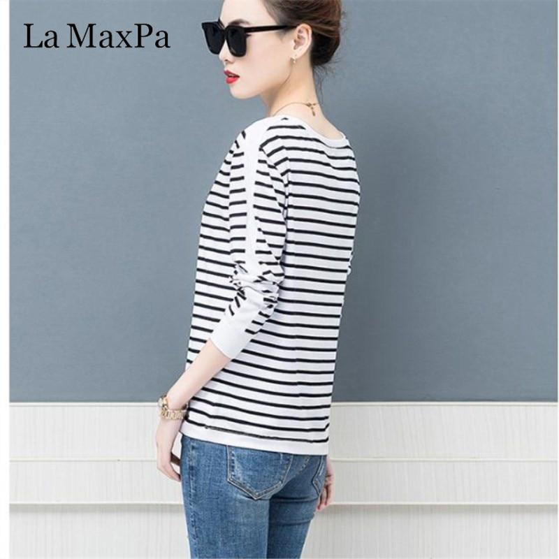 La MaxPa 2019 Spring New T-shirts For Women Classic Striped T Shirt O-neck Cotton Female 4XL Plus Size Tees 4